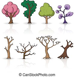 satz, vektor, bäume, karikatur