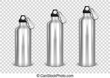 satz, verpackung, design, klein, größe, verschieden, mittel, bung, mockup, -, hintergrund., schwarz, schablone, leerer , 3d, flasche, wasser, closeup, front, silber, ikone, metall, groß, realistisch, vektor, glänzend, transparent, gitter, graphics., ansicht