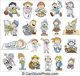 satz, verschieden, karikatur, kinder