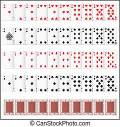 satz, vollständig, karte spielen