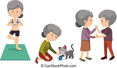 satz, von, ältere leute, machen, tätigkeiten