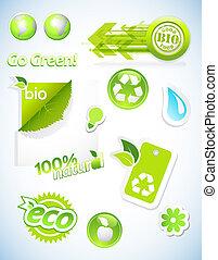 satz, von, ökologie, icons.