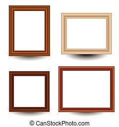 satz, von, 4, hölzern, bild, foto, frames.