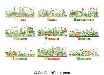 satz, von, 9, abstrakt, europa, stadt, skyline., vektor, illustration.