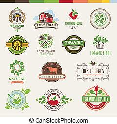 satz, von, abzeichen, für, organisches essen
