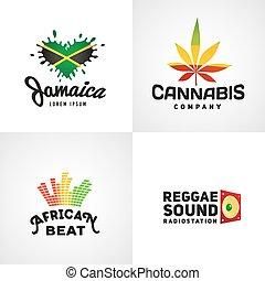 satz, von, afrikanisch, rasta, schlag, vektor, logo,...