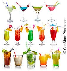 satz, von, alkohol, cocktails, freigestellt, weiß