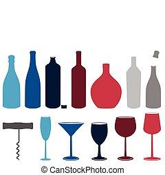 satz, von, alkoholflaschen, &, glasses.