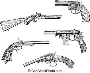 satz, von, altes , revolver, und, pistolen