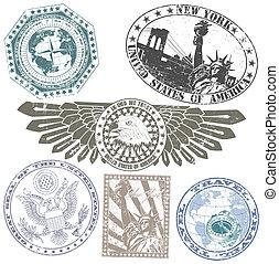 satz, von, amerikanische , briefmarken