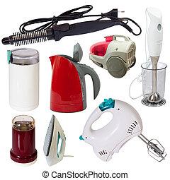 satz, von, appliances., freigestellt, weiß, mit, ausschnitt...