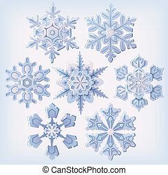 satz, von, aufwendig, schneeflocken
