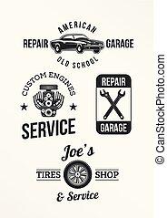 satz, von, auto- reparatur, abzeichen