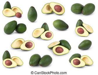 satz, von, avocados, freigestellt, aus, weißes