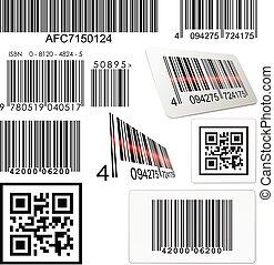 satz, von, balkencode, und, qr, codes