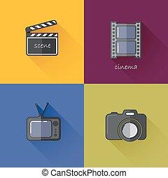 satz, von, begriff abbilder, für, medien, industriebereiche, (camera, fernsehapparat, schindel, filmstrip)., wohnung, design, mit, langer, schatten