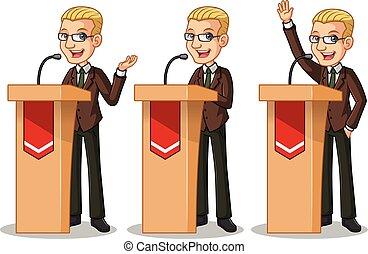 satz, von, blond, geschäftsmann, in, braune klage, geben, a, vortrag halten , hinten, rostrum
