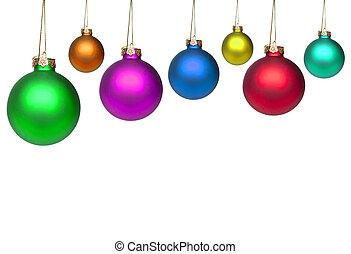 satz, von, bunte, weihnachten, kugeln, freigestellt, weiß