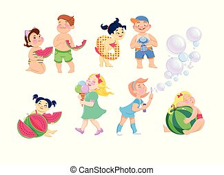 satz, von, clip-art, kinder, karikatur, auf, a, weißer hintergrund