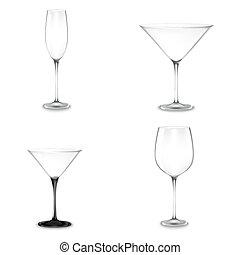 satz, von, cocktail brille, für, alkohol
