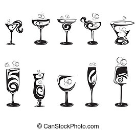 satz, von, cocktail, silhouette, brille