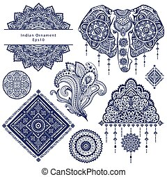 satz, von, dekorativ, indische , symbole