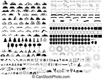 satz, von, elemente, für, berg, wald, stil, logo