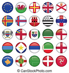satz, von, europäische , runder , fahne, heiligenbilder