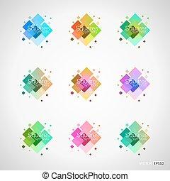 satz, von, farbe design, elemente