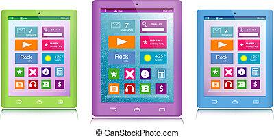 satz, von, farbe, tablette, computer