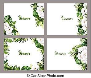 satz, von, feiertag, banner, mit, grün, tropische , handfläche, monstera, blätter, und, magnolie, blühen, blumen, auf, der, weißes, hintergrund., vier, zusammensetzung, mit, eins, stil, elemente, auf, der, sommer, poster.