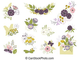 satz, von, floral elemente