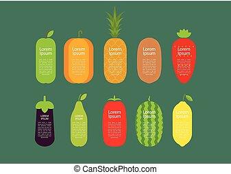 satz, von, früchte gemüse