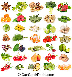 satz, von, früchte, gemuese, gewürz, und, nüsse