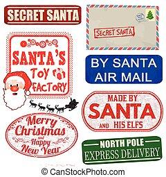 satz, von, freigestellt, weihnachten, briefmarken