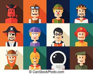 satz, von, freigestellt, wohnung, design, leute, ikone, avatars, für, sozial, netwo