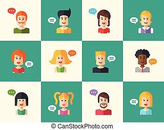 satz, von, freigestellt, wohnung, design, leute, ikone, avatars, für, sozial, vernetzung