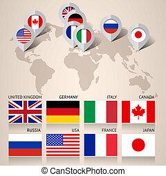 satz, von, g8, flaggen, mit, landkarte
