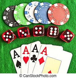 satz, von, gluecksspiel, gegenstände, -, poker- späne, -, karten, -, würfelt