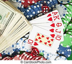 satz, von, gluecksspiel, gegenstände, -, poker- späne, -, karten, -, würfelt, -, geld
