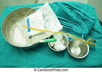 satz, von, harn, catheterization, in, operationssaal