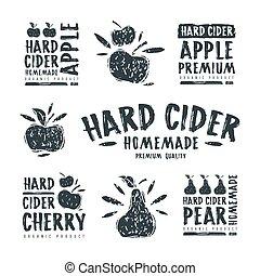 satz, von, hart, apfelwein, etikett, und, logo