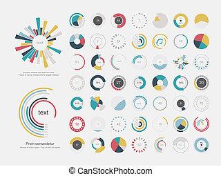 satz, von, info-graphic, kreisdiagramme