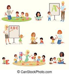 satz, von, kinder, machen, logopedie, mit, teachers., kinderentwicklung, center., kinder, alphabet, briefe, durch, play., erzieherisch, game., freigestellt, wohnung, vektor, design