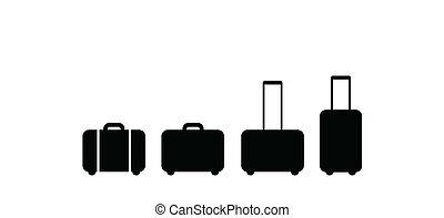 satz, von, koffer, ikone