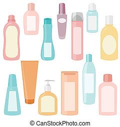 satz, von, kosmetikartikel, behälter