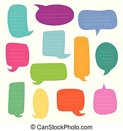 satz, von, leerer , dialogs, boxes., vektor, vortrag halten , bubbles.