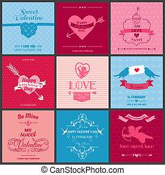 satz, von, liebe, karten, -, wedding, tag valentines, einladung, -, in, vektor