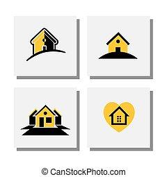 satz, von, logo, haus, oder, daheim, entwürfe, -, vektor, heiligenbilder