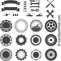 satz, von, logotype, element, für, mechaniker, garage, auto- reparatur, service